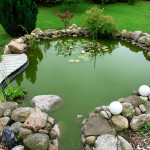 Украшение прекрасного искусственного пруда